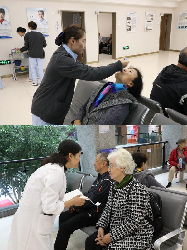 护士帮助患者滴眼药水